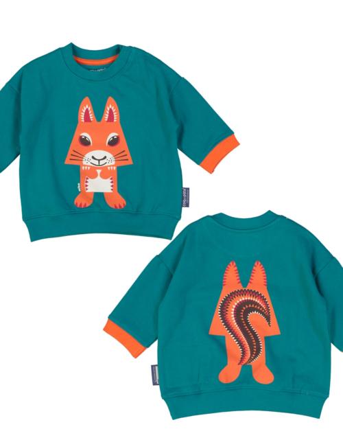 sweatshirt squirrel teal by coq en pate